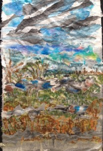 View from Caritas Christi, Kew Reconstructed landscape collage, ink on rice paper